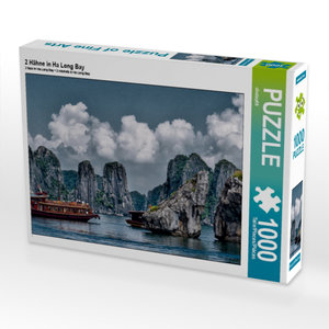 2 Hähne in Ha Long Bay 1000 Teile Puzzle quer