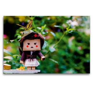 Premium Textil-Leinwand 120 cm x 80 cm quer Lilly im Schmetterli