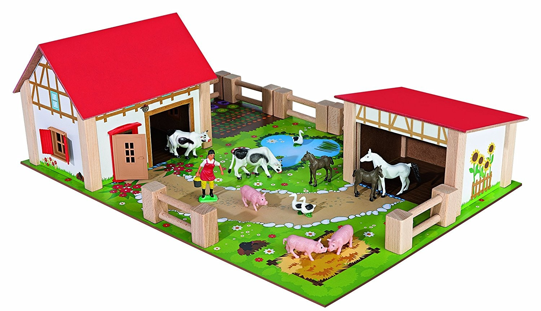 Eichhorn 100004308 - Holz-Bauernhof, inklusive Zubehör, 25-tlg. - zum Schließen ins Bild klicken