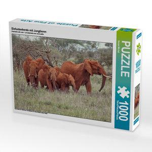 Elefantenherde mit Jungtieren 1000 Teile Puzzle quer