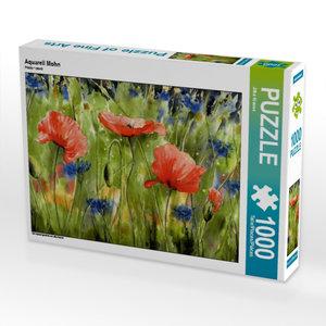 Aquarell Mohn 1000 Teile Puzzle quer