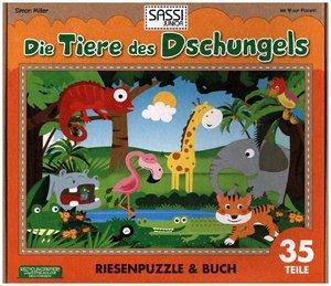 Die Tiere des Dschungels Riesenpuzzle mit Begleitbuch