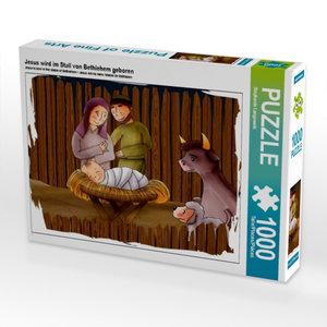 Jesus wird im Stall von Bethlehem geboren 1000 Teile Puzzle quer
