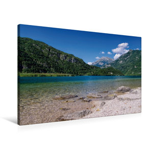 Premium Textil-Leinwand 90 cm x 60 cm quer Cavazzo-See