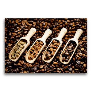 Premium Textil-Leinwand 75 cm x 50 cm quer Duftende Kaffebohnen