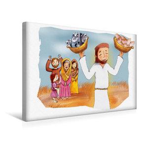 Premium Textil-Leinwand 45 cm x 30 cm quer Jesus vermehrt Brot u