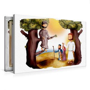Premium Textil-Leinwand 75 cm x 50 cm quer Zachäus und Jesus tre
