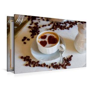 Premium Textil-Leinwand 120 cm x 80 cm quer Kaffee mit Herz