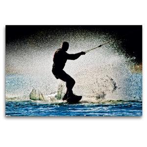 Premium Textil-Leinwand 120 cm x 80 cm quer Wakeboarden