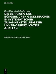 Sachenrecht II: §§ 1018 - 1296