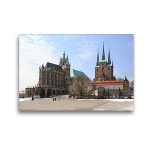 Premium Textil-Leinwand 45 cm x 30 cm quer Erfurter Dom im Winte