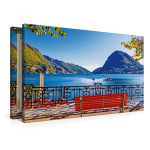 Premium Textil-Leinwand 90 cm x 60 cm quer Pause am Luganer See,