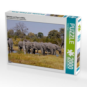 Elefanten am Fluss in Afrika 2000 Teile Puzzle quer
