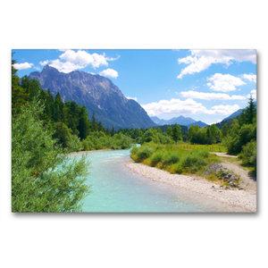Premium Textil-Leinwand 90 cm x 60 cm quer Der Isar Naturerlebni