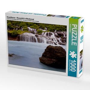 Hraunfossar ? Wasserfall in Westisland 1000 Teile Puzzle quer
