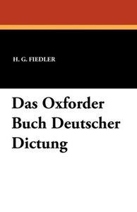 Das Oxforder Buch Deutscher Dictung