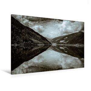 Premium Textil-Leinwand 120 cm x 80 cm quer Spiegelung im See