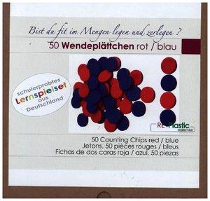50 Wendeplättchen, rot/blau aus RE-Plastic°