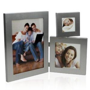 Fotorahmen Edelstahl/ Rahmen glänzend, für 3 Fotos
