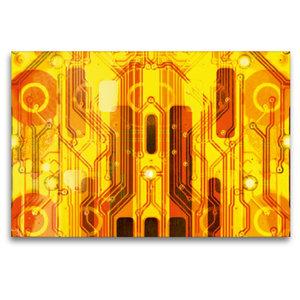 Premium Textil-Leinwand 120 cm x 80 cm quer Kirche auf goldenem