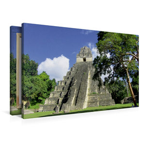 Premium Textil-Leinwand 90 cm x 60 cm quer Maya Pyramide in Tika