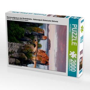 CALVENDO Puzzle Sonnenaufgang an der Basteibrücke - Nationalpark