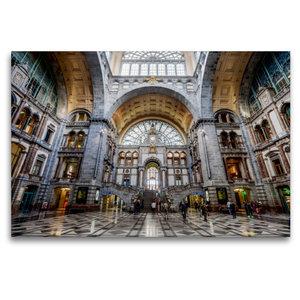 Premium Textil-Leinwand 120 cm x 80 cm quer Historischer Bahnhof