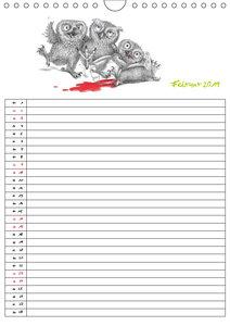 Tieronisch Eulen (Wandkalender 2019 DIN A4 hoch)