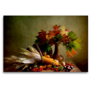 Premium Textil-Leinwand 120 cm x 80 cm quer Herbstliches Stillle