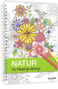 Kreativset: Malbuch Natur + 12 Farbstifte bicolor (24 Farben)