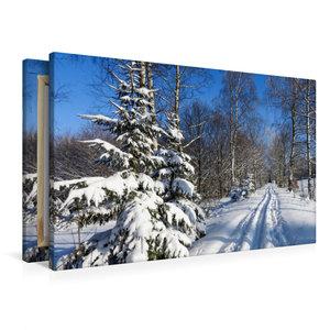 Premium Textil-Leinwand 90 cm x 60 cm quer Winter im Erzgebirge