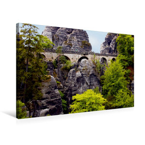 Premium Textil-Leinwand 75 cm x 50 cm quer Basteibrücke im Elbsa