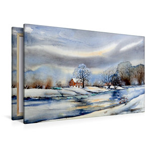 Premium Textil-Leinwand 120 cm x 80 cm quer Winter am Fluß