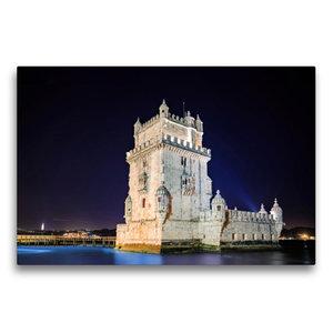 Premium Textil-Leinwand 75 cm x 50 cm quer Torre de Belem bei Na