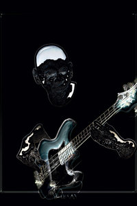 Premium Textil-Leinwand 30 cm x 45 cm hoch Bass-Gitarre
