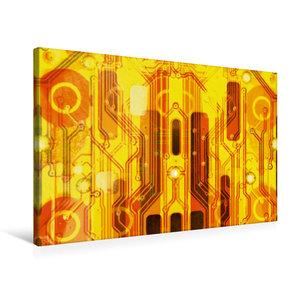 Premium Textil-Leinwand 75 cm x 50 cm quer Kirche auf goldenem H