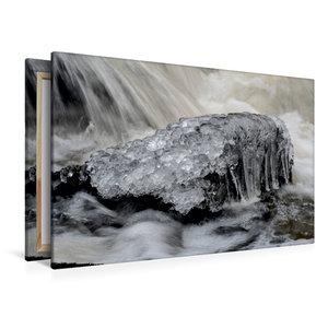 Premium Textil-Leinwand 120 cm x 80 cm quer Eiskristalle