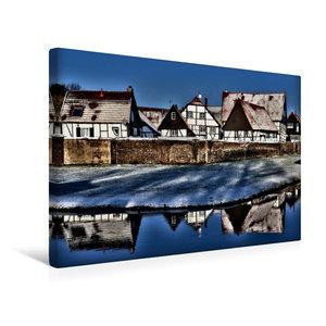 Premium Textil-Leinwand 45 cm x 30 cm quer Winterlicher Dorfchar