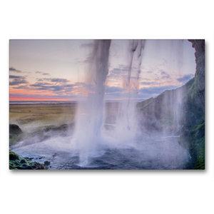 Premium Textil-Leinwand 90 cm x 60 cm quer Wasserfall Seljalands
