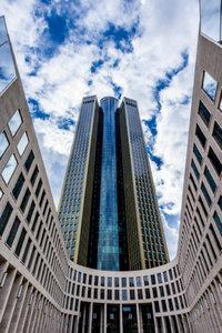 Premium Textil-Leinwand 60 cm x 90 cm hoch Tower 185 Frankfurt a