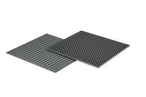 4x Bauplatte staubgrau 20x20 Noppen, 16x16xcm - Basis für Spielz
