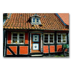Premium Textil-Leinwand 90 cm x 60 cm quer Altes Haus in Faaborg