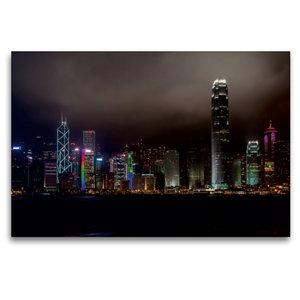 Premium Textil-Leinwand 120 cm x 80 cm quer Hong Kong Island