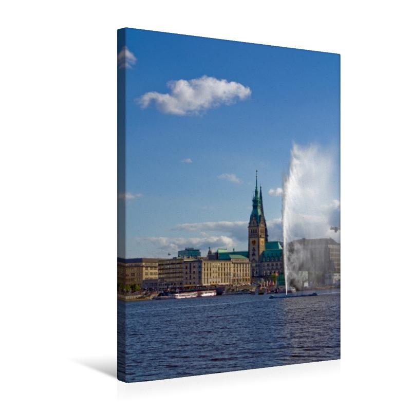 Keilrahmen Bild Gem/älde Wandbild 45 x 30 cm Hamburg Skyline Premium Leinwand