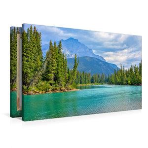Premium Textil-Leinwand 90 cm x 60 cm quer Bow River bei Banff