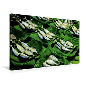 Premium Textil-Leinwand 75 cm x 50 cm quer Fisch auf dem Markt