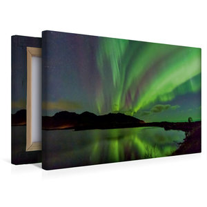 Premium Textil-Leinwand 45 cm x 30 cm quer Aurora Lofotis: Polar
