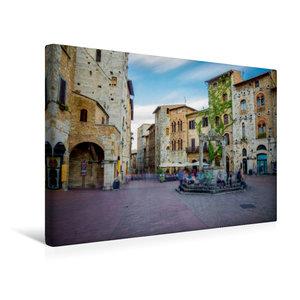 Premium Textil-Leinwand 45 cm x 30 cm quer San Gimignano Brunnen