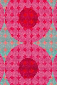 Premium Textil-Leinwand 50 cm x 75 cm hoch Punkte, Rot und Türki