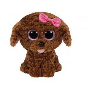 Maddie - Hund braun m. Schleife, 15cm
